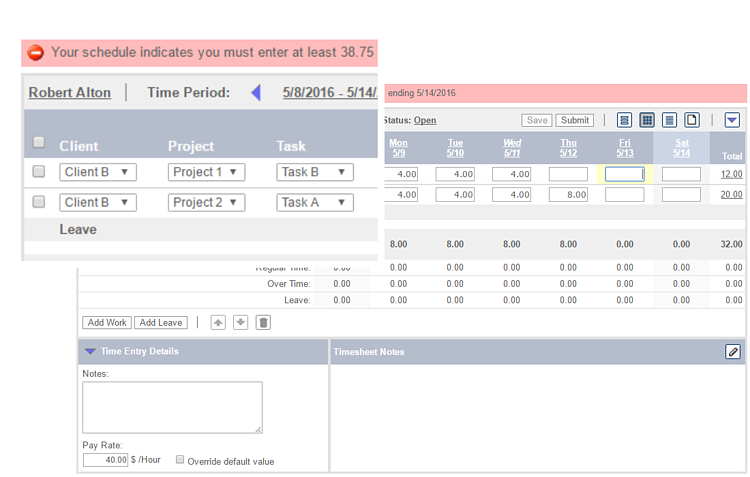 Timesheet Validation Rules